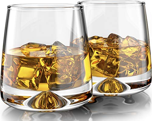 Premium Whiskey Glasses - Large (12oz) Set of 2 - Lead Free Hand Blown Crystal - Thick Weighted Base - Seamless Design - Perfect for Scotch, Bourbon, Manhattans, Old Fashioned, Cocktails, etc