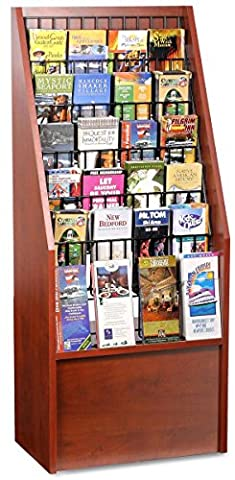 Floor Literature Rack with Adjustable Pockets for 4x9 Brochures and 8.5x11 Magazines - Red Mahogany with Black - Pocket Literature Floor Display