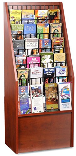 Floor Literature Rack with Adjustable Pockets for 4x9 Brochures and 8.5x11 Magazines - Red Mahogany with Black (12 Pocket Floor Display)
