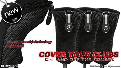 Black All Hybrid Headcover Set 3 4 5 Golf Club Covers Head Cover Neoprene Mesh - 3 Headcovers Pack Sock