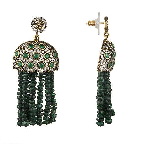 Bubble Tassel Earring Emerald