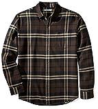 Amazon Essentials Men\s Regular-Fit Long-Sleeve Plaid Flannel Shirt, Brown Plaid, Medium