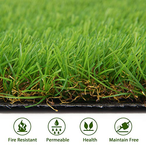 Shaddock Fishing Artificial Grass Turf Lawn - Fake Grass Mat Thick Synthetic Turf Rug Indoor Outdoor Carpet Garden Lawn Landscape Rubber Backed with Drainage Holes, High Density, Height 1.38inch