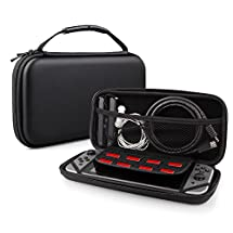 Nintendo Switch Case Bag, Swees Protective Hard Shell Carrying Accessories Game Traveler Deluxe Travel Case with 8 Game Cartridge Holders Double Zipper Design for Nintendo Switch Console, Black