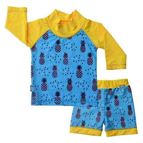 UV Protective Swimwear Set Rash Guard 2 Piece Kids Unisex (UV Shirt Short Set L: 18-36m, Pineapple)