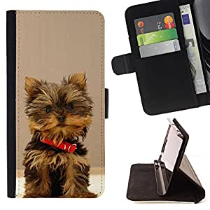 - Yorkshire Terrier Dog Small Brown Furry - - Prima caja de la PU billetera de cuero con ranuras para tarjetas, efectivo desmontable correa para l Funny HouseFOR Samsung Galaxy Note 4 IV
