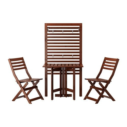 Ikea Wall panel, gateleg table & 2 chairs, outdoor, brown stained - Table Gateleg Chairs