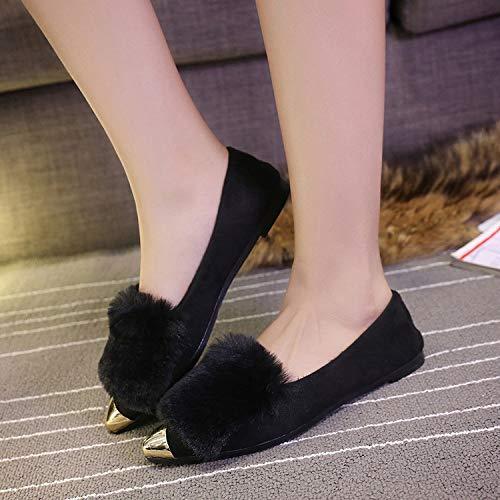HOESCZS Solid Chaussures pour Femmes Automne Et Hiver New Solid HOESCZS Color Chaussures en Coton pour Femmes Bottes Courtes en Métal Bottes De Neige 35|Black d01c11