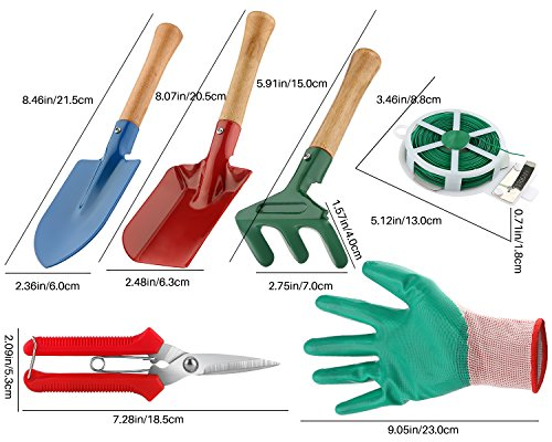 WINIT 7-Piece Garden Tool Set Include Triangle Shovel, Square Shovel, Hand Rake, Gloves, Plant Twist Tie and Pruner, Portable Bend-proof Gardening Tools (No Mat) by WINIT (Image #5)