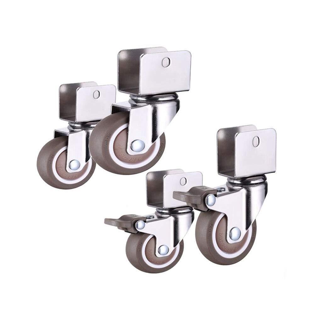 MUMA Wheel Universal Brake Mute Rubber Splint Furniture Casters (Color : (20mm) universal+brake, Size : 2 inches)