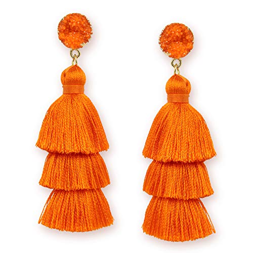 - Fashion Tassel Earrings for Women Girls Burnt Orange Tassel Fringe Drop Dangle Earrings for Girls Womens Hot Summer Jewelry Gift