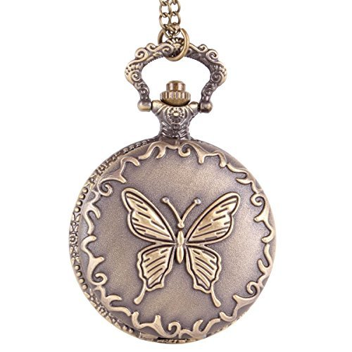 Antique bronze flip open quartz pocket watch pendant with chain antique bronze flip open quartz pocket watch pendant with chain necklace butterfly design aloadofball Choice Image