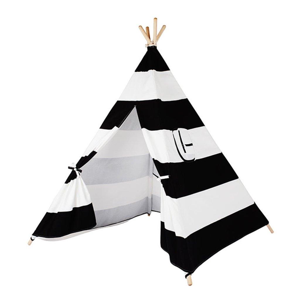 Kindertipi Indianerzelt schwarz weiß gestreift - Tipi 100% Baumwolle ...