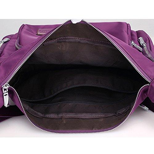 Bag Crossbody Bag Shoulder Waterproof Multi Zipper Purple Handbag Pockets Pocket Messenger Nylon Sornean qwFtzEx1Z1