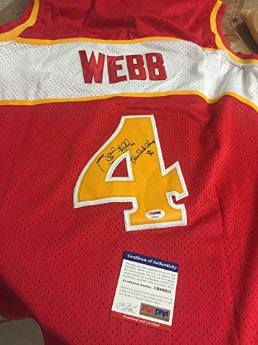Dunk Webb Spud - AUTOGRAPHE SPUD WEBB ATLANTA HAWKS JERSEY WITH INSCRIPTION SLAM DUNK CHAMP 86 PSA CERTIFIED FIRST PRIVATE SIGNING