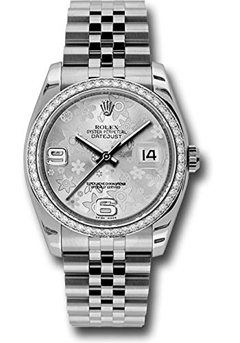 Rolex Datejust 36mm Stainless Steel Case, 18K White Gold Bezel Set With 52 Brilliant-Cut Diamonds, Silver Floral Dial, Arabic Numeral and Stainless Steel Jubilee Bracelet.