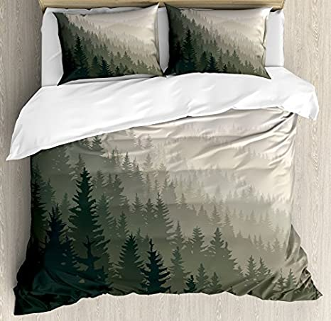 Ambesonne Forest Duvet Cover Set Queen Size Northern Parts Of The World With Coniferous Trees Scandinavian Woodland Decorative 3 Piece Bedding Set With 2 Pillow Shams Green Cream Home Kitchen