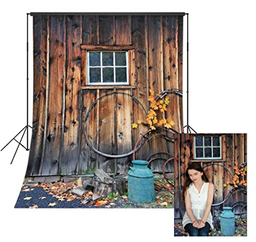 LB Rustic Barn Door Backdrop for Photography 5x7ft Vinyl Vintage Wooden Door Photo Backdrops for Party Event Portraits Photo Booth Backdrop ()