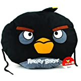 "Angry Bird Red Pillow Cushion ""Black Bird"" 18 Inches"