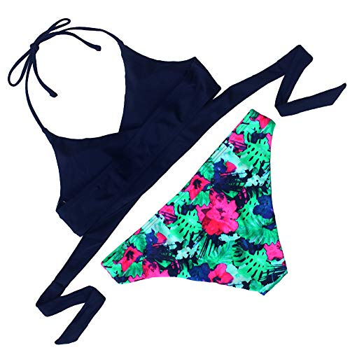 Agreya Womens 2 Piece Push up Black Bikini Top Floral Printing Bottom Swimsuit (Blue, S)