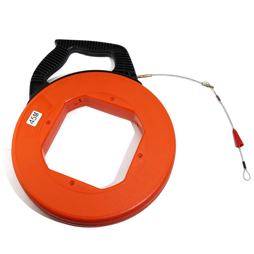 Boeray 4mmx45m(147.6FT) Fiberglass Electrical Fish Tape Reel, Great for Pull Line, Long Runs,Orange