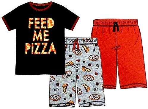 14 Eve Kids Boys 3 Piece Sleepwear Set Feed Me Pizza Large St