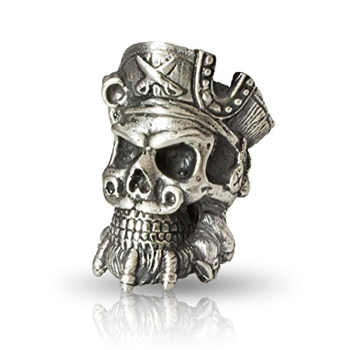 Paracord Skull Bead Blackbeard - Metal DIY Paracord Beads Charms EDC Accessories for Custom Bracelet Knife Lanyard Zipper Pull - Handmade Paracord Charms Supplies Crafts from Asterom
