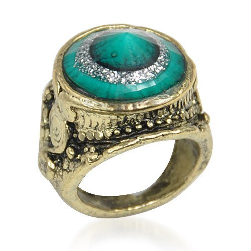 TOOGOO(R) Bague Retro-style Design d'emeraude artificielle 004495