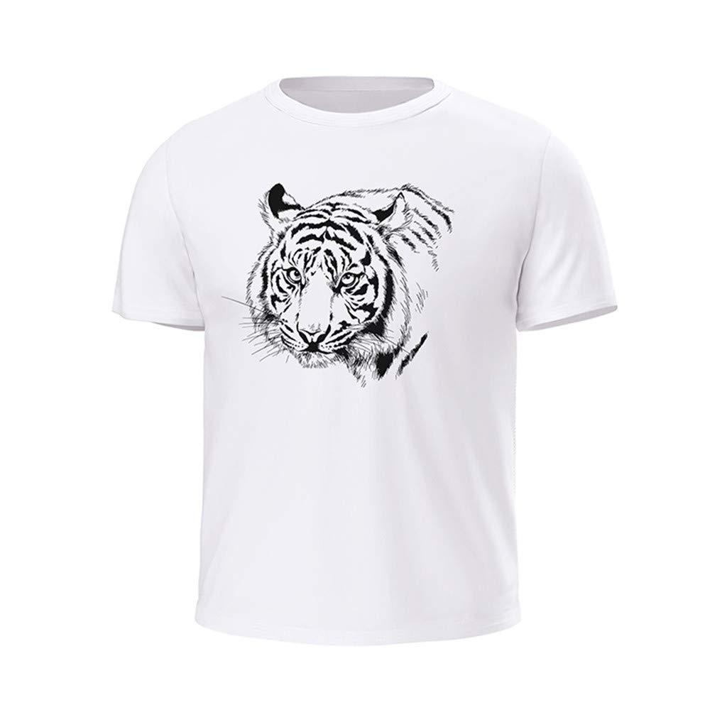 Loyalt Mens Casual Printed Round Neck Short Sleeve T-Shirt Top
