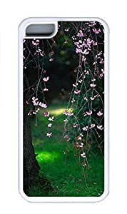 iPhone 5C Case, Personalized Custom Rubber TPU White Case for iphone 5C - Flower Tree02 Cover