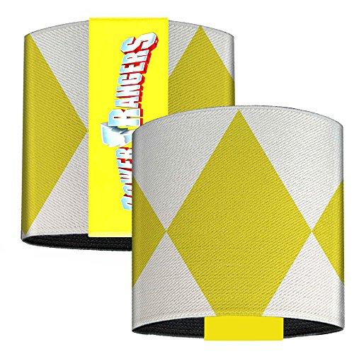 Buckle Down Yellow Ranger Sleeve Diamonds White Yellow Elastic Wrist Cuff 3.0