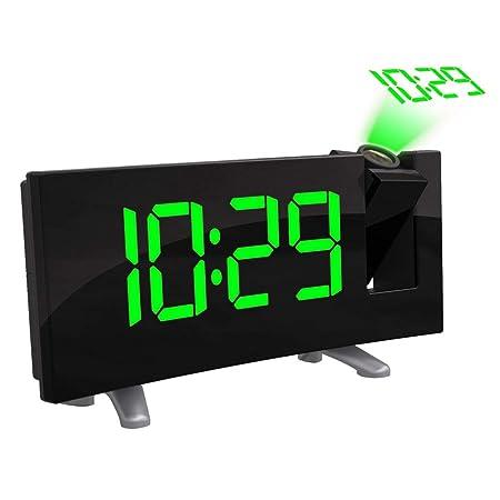 ONEVER Reloj con proyector Digital LED, Pantalla LED Curva (FM 7.1)  con Reloj Radio Atenuador Pantalla de Techo Cargador USB (Green)