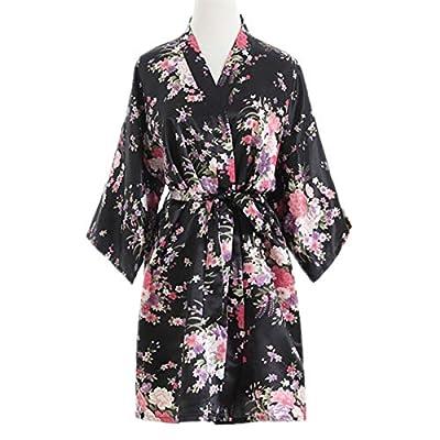 Women Sexy Kimono Floral Oriental Cherry Print Bath Robe Bathrobe Bath Gown Nitght Gown Lingerie Nightwear