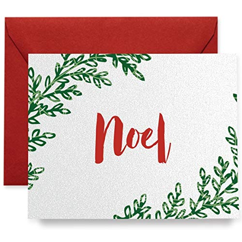 (Noel Christmas Holiday Greeting Cards Boxed Set of 8 Shimmer Cards & Red Envelopes Folded Wreath Cards 8-Count Box   Pullman27)