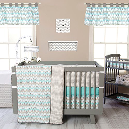 - Trend Lab Seashore Waves 3 Piece Crib Bedding Set, Teal