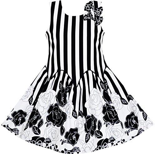 Black Sleeveless Bow (JB95 Girls Dress Sleeveless Black White Stripes Flower Bow Tie Size)