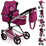 Bayer Design 18467AA Stroller, Doll Combi Pram Neo Vario with Changing Bag and Underneath Shopping Basket, Foldable, Swivel Front Wheels, Bordeaux with Fairy