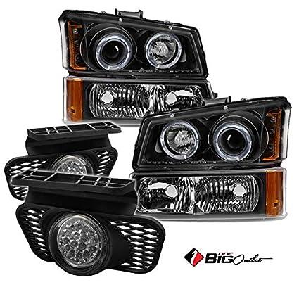 Faros delanteros proyector para Chevy, halo negro + set de luces ...