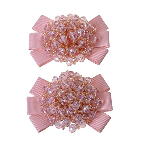 (Douqu Grosgrain Ribbon Bow Fashion Hand Beaded Crystal Shoe Clips Charms Pair Black Champagne Red Pink)