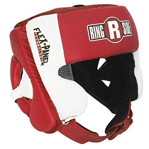 Ringside Elite Amateur Flex Panel Competition Headgear, Red/White, Small/Medium