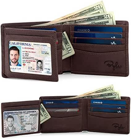 2 Window ID Holder RFID Wallet for Men, Multi Card Extra Capacity Travel Wallet, Ultimate Identity Theft, Credit Card Protection, Full Grain Leather Bifold