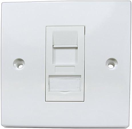 Rhinocables Placa Ethernet de la placa frontal solo y doble socket de red RJ45 de pared frontal Varios CAT5e CAT6 CAT6A Gigabit 1 2 4 puertos (1 Puerto, CAT6A): Amazon.es: Hogar