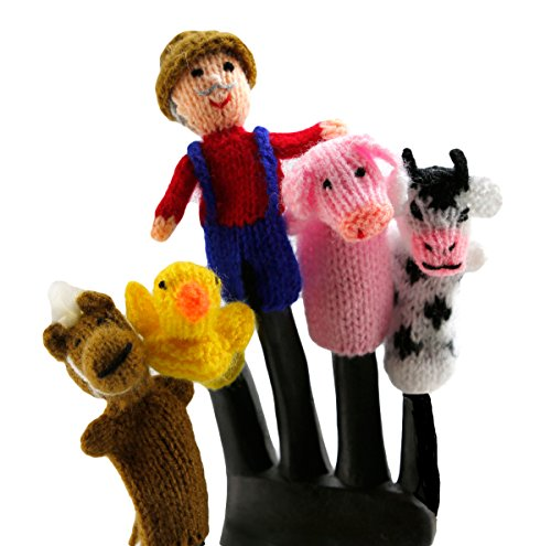 Fair Trade Old McDonald Finger Puppet Set of 5 from Peru, Includes the Farmer, Cow, Horse, Pig, Chick or Duck