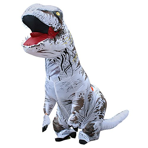 Davidamy's Gift Inflatable T-rex Dinosaur Halloween Suit Cosplay Fantasy Costume For Adults (White)
