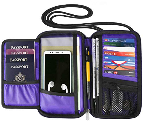 RFID Travel Wallet Passport Holder Neck Pouch for Men and Women