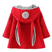 Baby Girl's Toddler Fall Winter Coat Jacket Outerwear Ears Hoodie(6,Red)