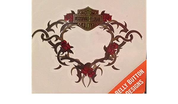 74e91ff81 Amazon.com : Harley Davidson Motorcycle Temporary Tattoo Belly Button with  Roses and Vine : Beauty