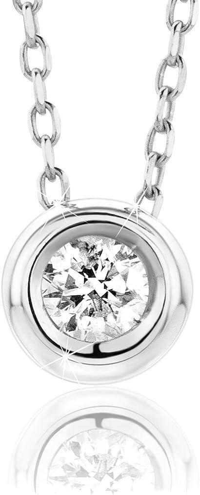 Orovi Collar Señora Solitario con cadena en Oro Blanco con Diamante Talla Brillante 0.10 ct Oro 9 Kt / 375 Cadena 45 Cm