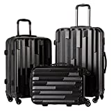 CoolifeHard shell Lightweight Travel Luggage Suitcase Luggage 3 Piece Set (black)