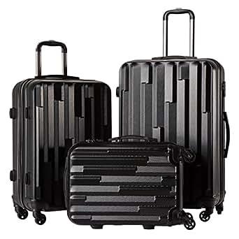 CoolifeHard shell Lightweight Travel Luggage Suitcase Luggage 3 Piece Set (black)